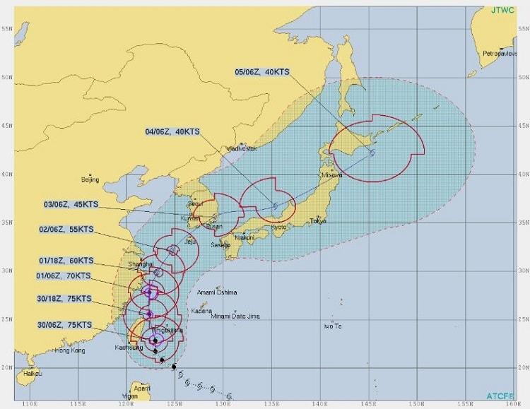 台風18号,30日時点米軍進路予想