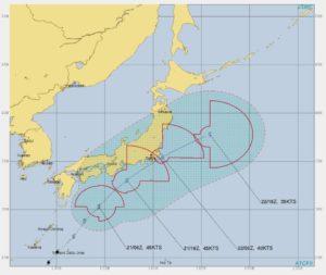 台風20号,進路予想2