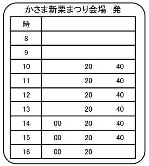 笠間栗祭り,シャトルバス時刻表
